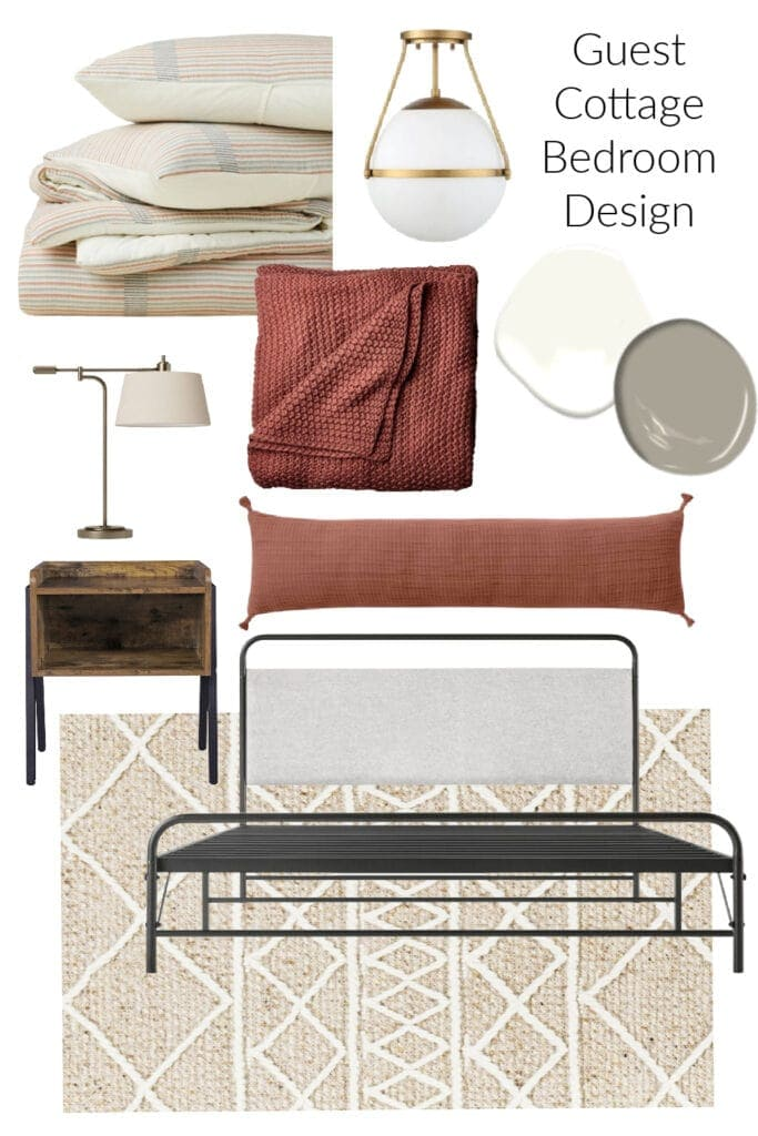 Lake House Guest Cottage Bedroom Design board with black bed terra cotta blanket and pillows