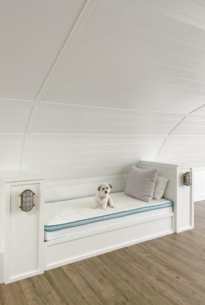bunk house bunks white paneled walls