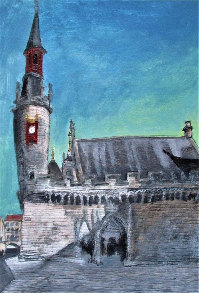 La Rochelle, Hôtel de ville. Tinta, acuarela y acrílico sobre papel de 370 g/m2. 2017.