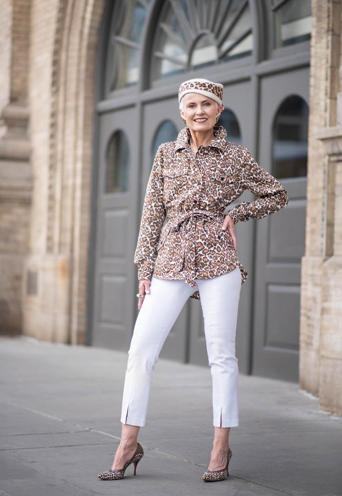 Judith wearing leopard prints   40plusstyle.com