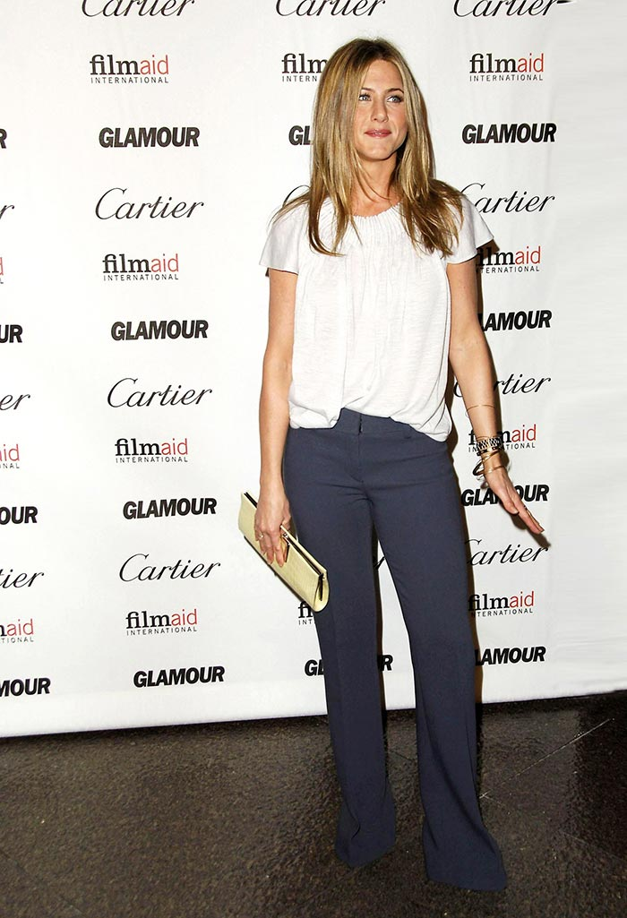 Jennifer wearing a ruched neckline top and bootcut pants | 40plusstyle.com