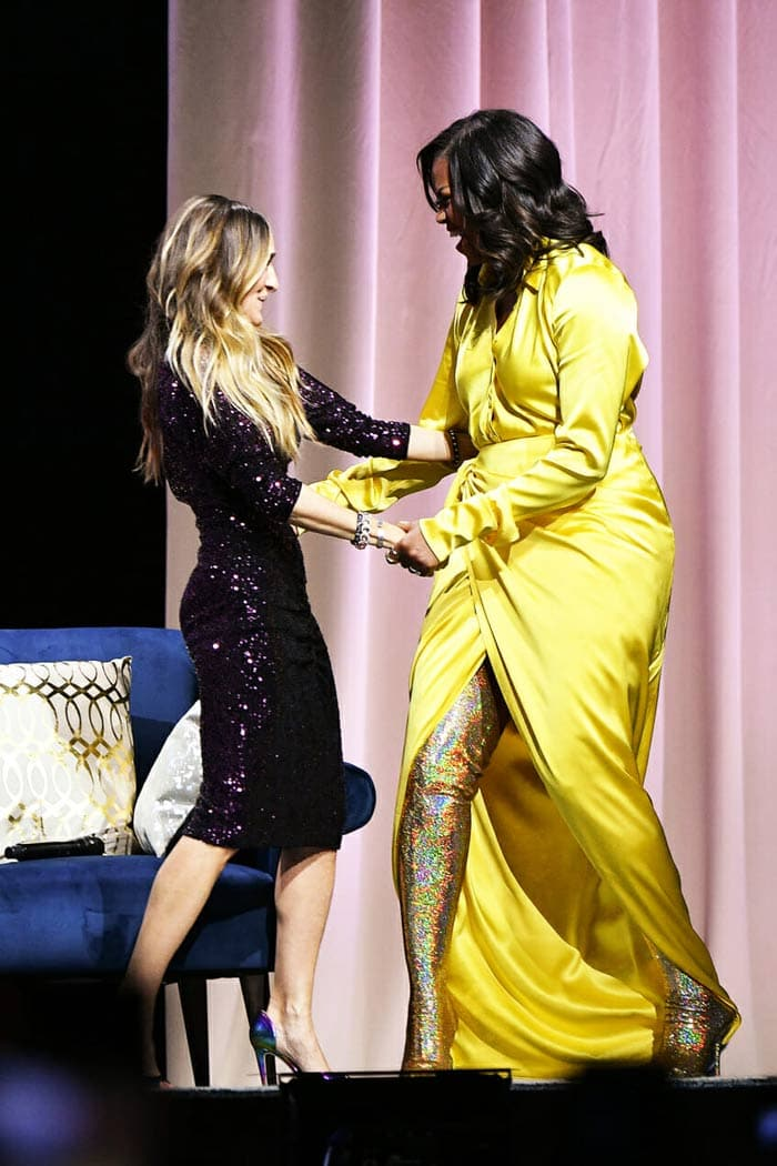 Michelle Obama wearing a yellow outfit and high gold boots   40plusstyle.com