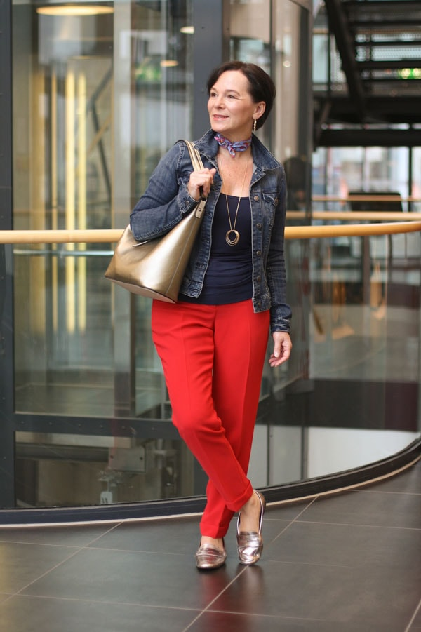 Stylish look featuring red pants   40plusstyle.com