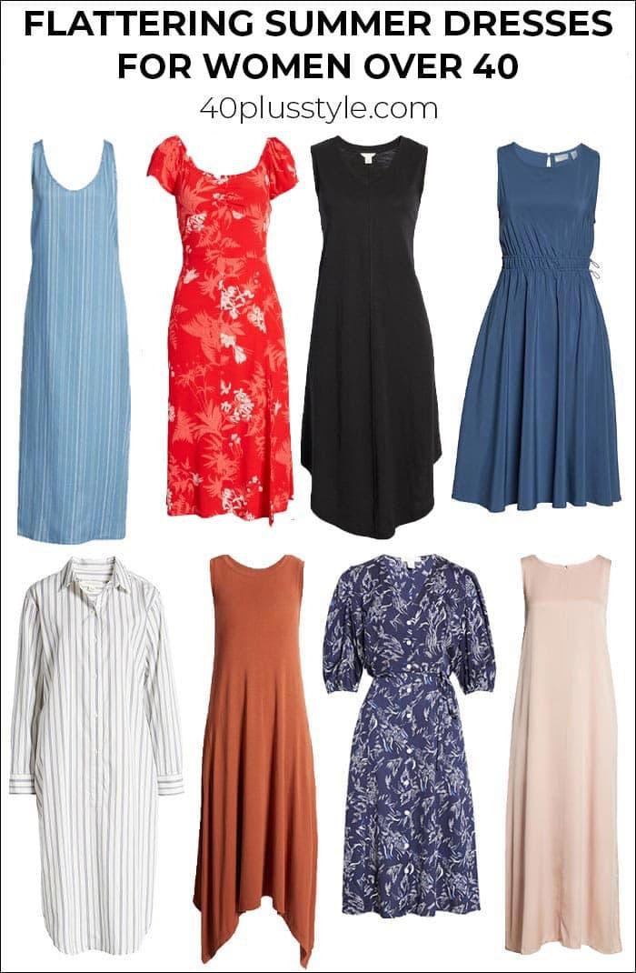 Flattering summer dresses for women over 50, 40, or upwards from Nordstrom | 40plusstyle.com