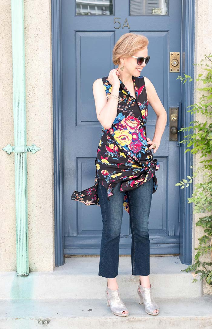 Dresses with pants - Sylvia in a floral dress and jeans   40plusstyle.com