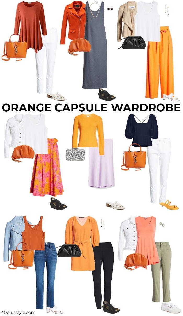An orange capsule wardrobe | 40plusstyle.com