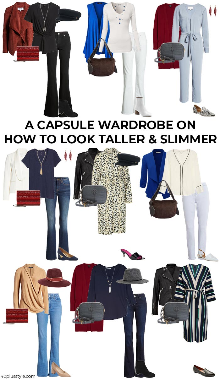 A capsule wardrobe on how to look taller and slimmer | 40plusstyle.com