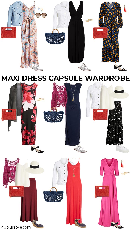Maxi dress capsule wardrobe | 40plusstyle.com