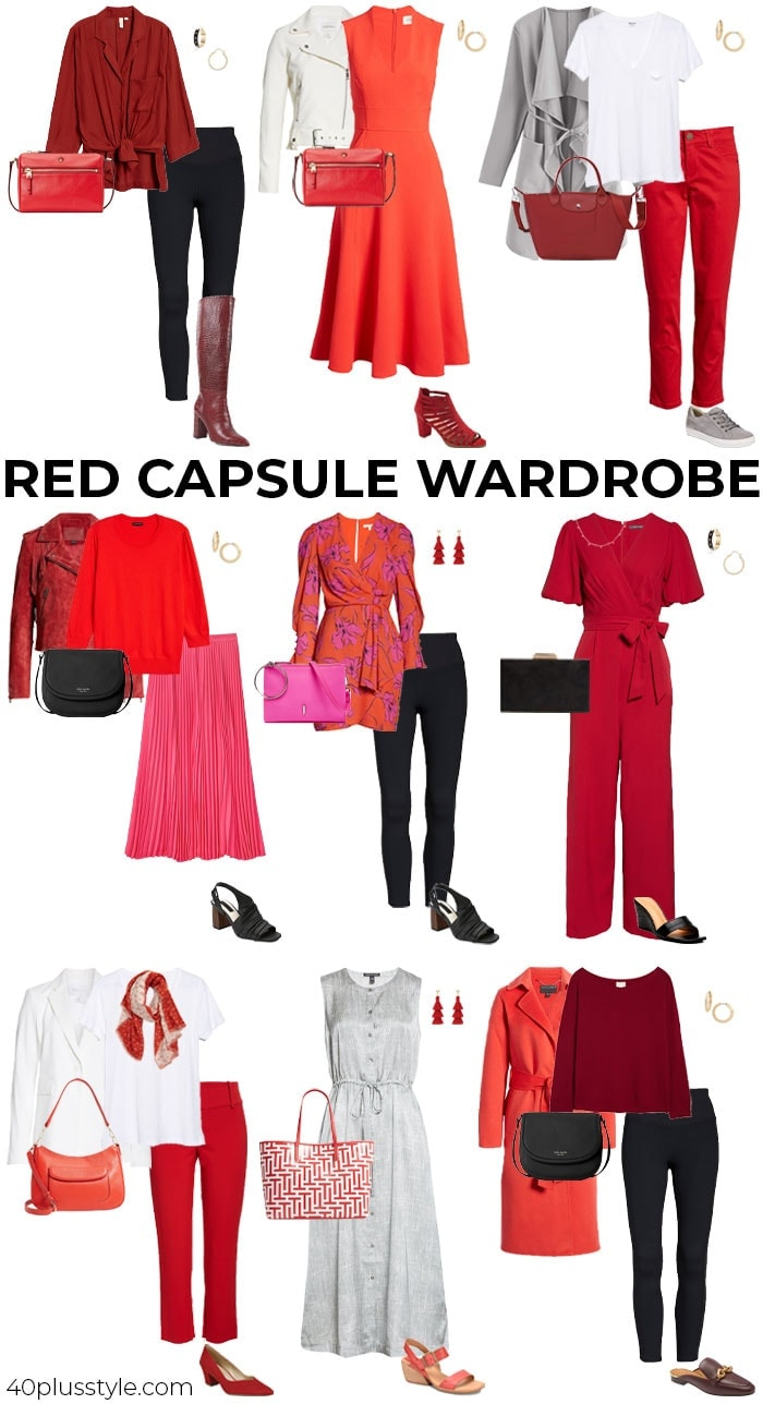 Red capsule wardrobe | 40plusstyle.com