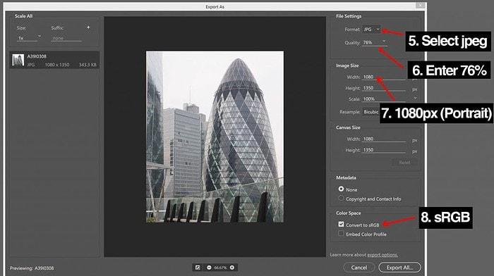 Photoshop Export Window