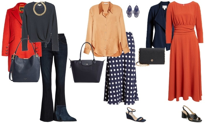 navy blue and orange outfit ideas | 40plusstyle.com