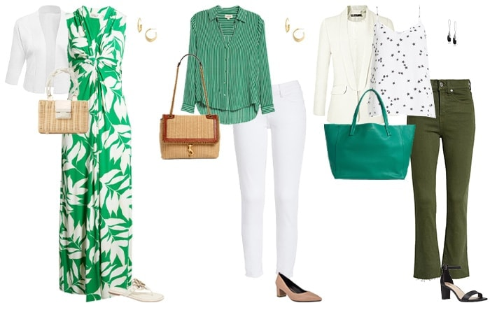 Green and white outfits | 40plusstyle.com