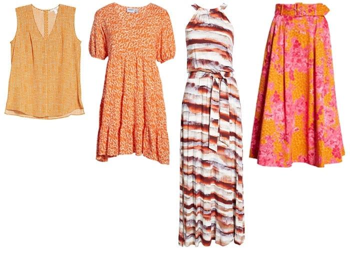 Orange printed clothes | 40plusstyle.com