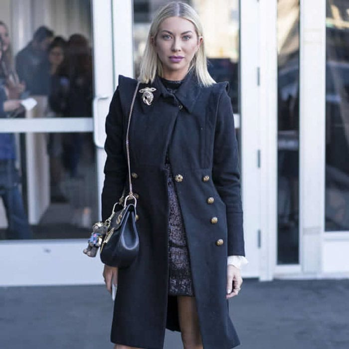 Black Trench Coat with Gold Buttones | 40plusstyle.com