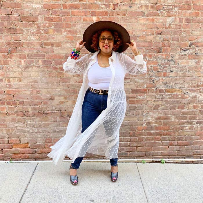boho look inspiration: sheer cardigan, jeans, fedora hat, bangles and belt | 40plusstyle.com