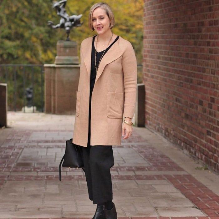 best winter coats for women - Ashley in a short beige coat | 40plusstyle.com