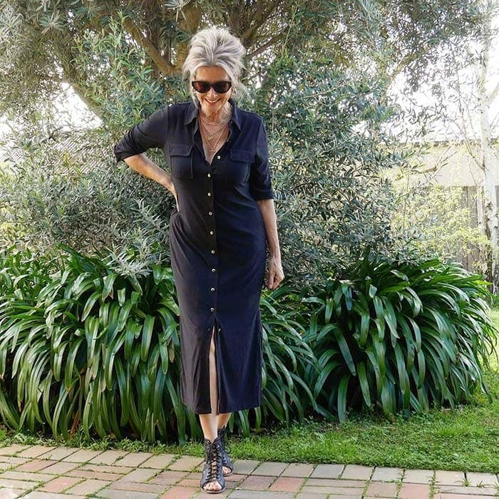 Suzie wears a black shirtdress | 40plusstyle.com