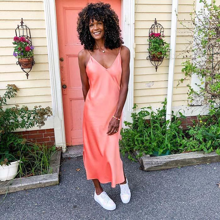 Diane in an orange dress | 40plusstyle.com