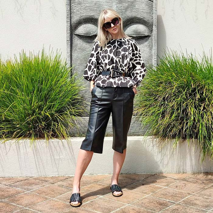 Melissa in leather capri pants | 40plusstyle.com