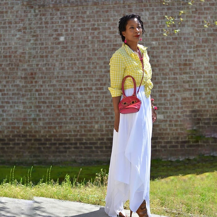 How to wear a maxi dress - Troy in a long white dress and knotted shirt | 40plusstyle.com