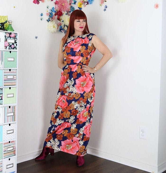 Suzanne in a floral maxi dress | 40plusstyle.com