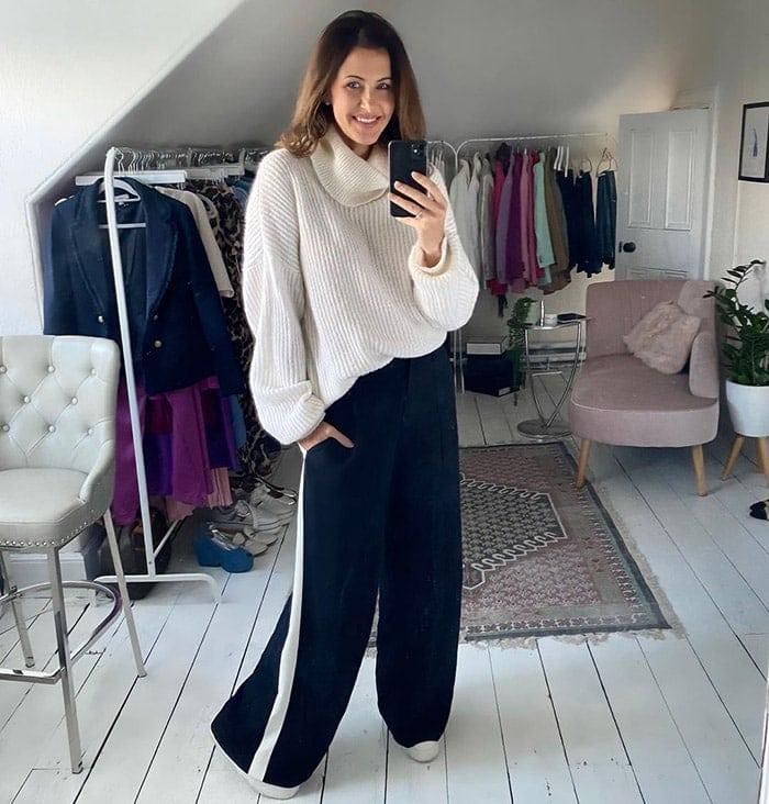 Julie wearing stylish loungewear | 40plusstyle.com