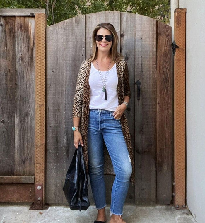 What to wear in Vegas - Suzanne in leopard print   40plusstyle.com