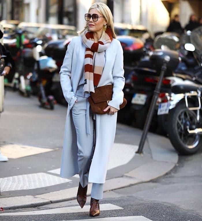 how to choose a coat - Petra wears a long blue coat | 40plusstyle.com