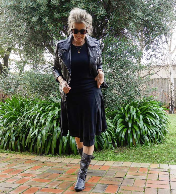Suzie in an all-black rock style outfit   40plusstyle.com