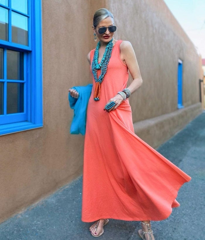 Jamie wears orange with turquoise | 40plusstyle.com
