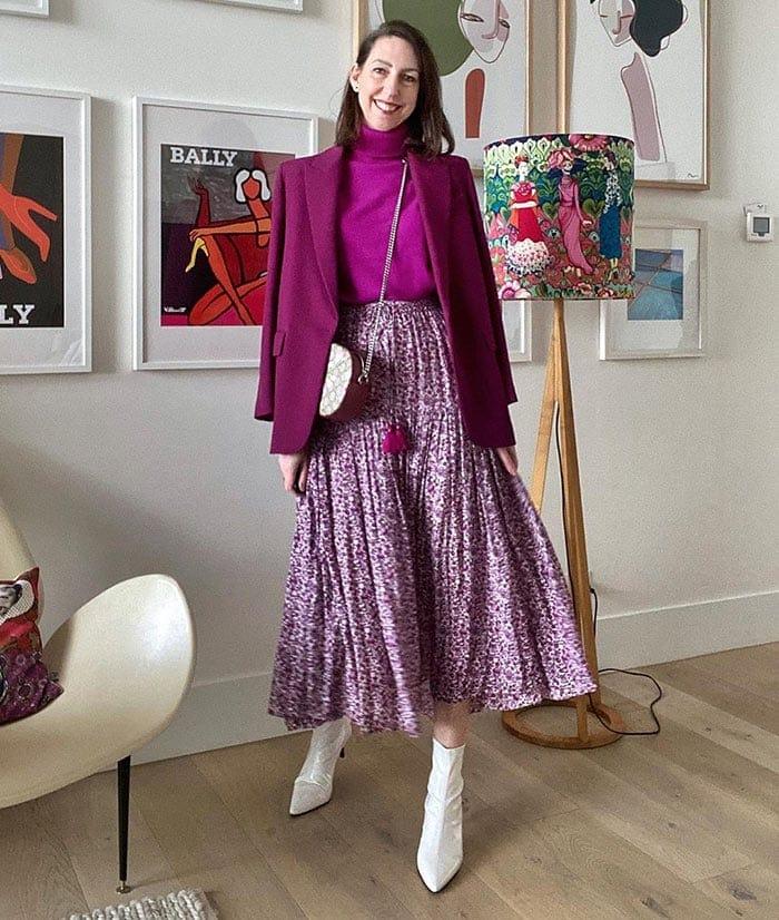 Purple outfits - Sally wears a purple blazer | 40plusstyle.com