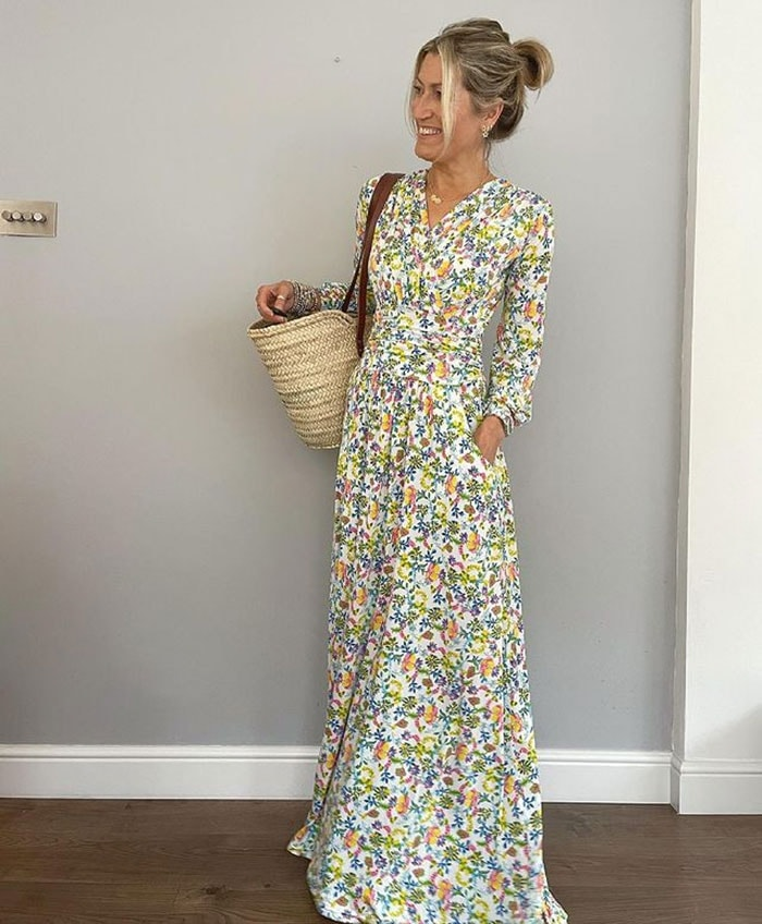 Abi wears a floral maxi dress | 40plusstyle.com