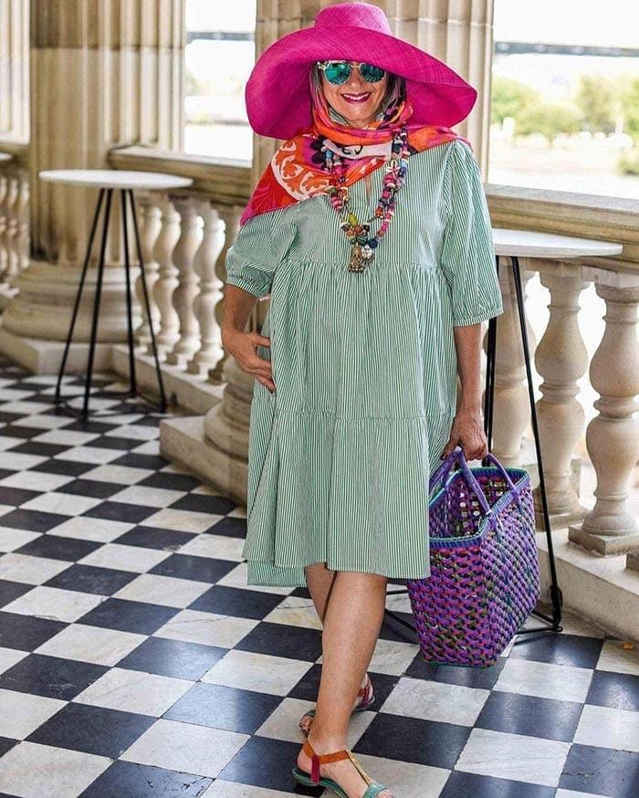 Best beach bags - Elizabeth has a roomy basket style | 40plusstyle.com