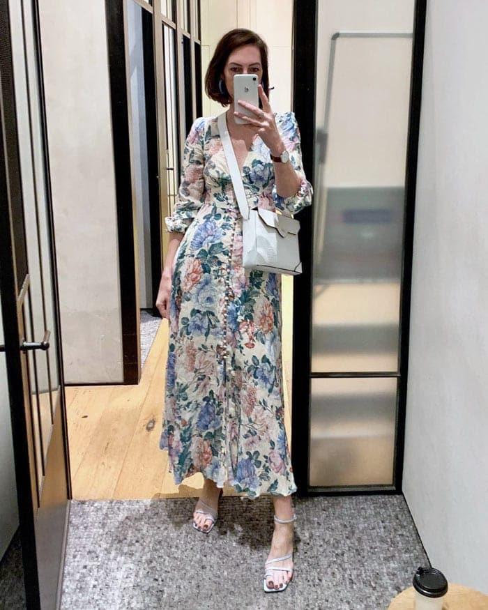 a floral maxi dress outfit | 40plusstyle.com