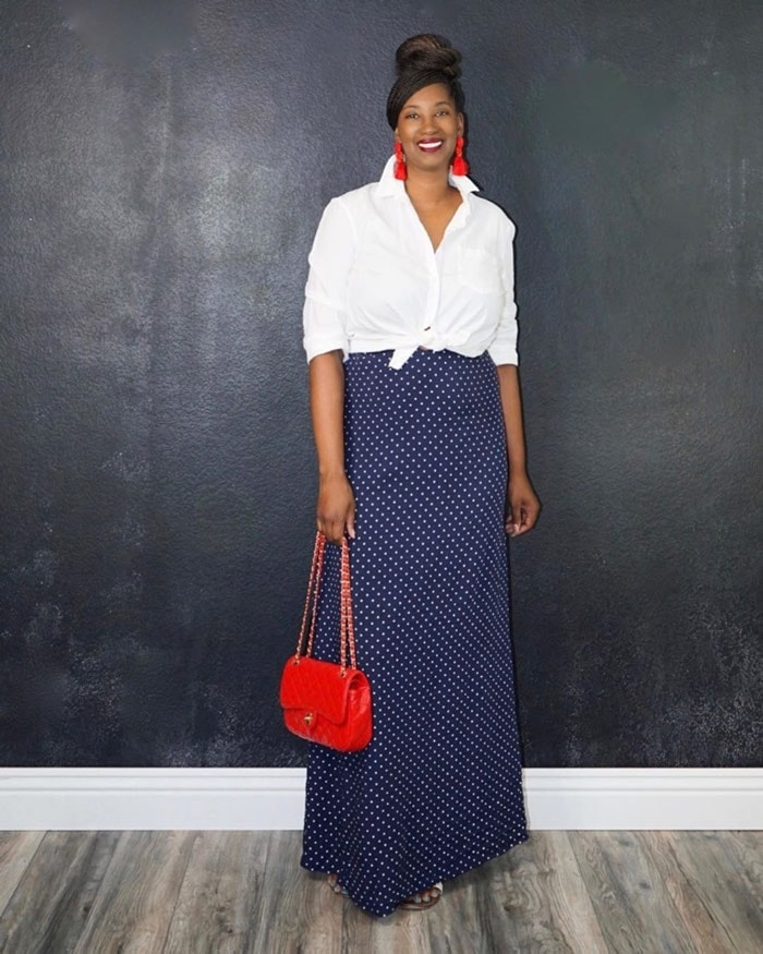 Tanasha wears navy, white and red | 40plusstyle.com
