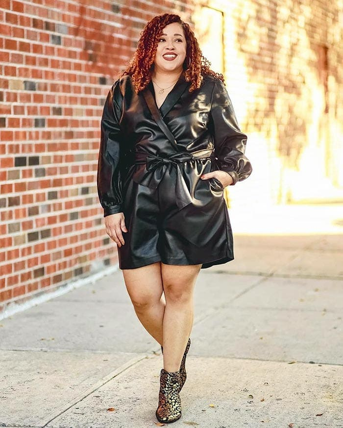 Party outfit inspiration - Sandra wearing a leather romper   40plusstyle.com