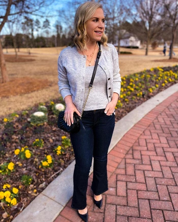 Kristen wears bootcut jeans and a twinset   40plusstyle.com