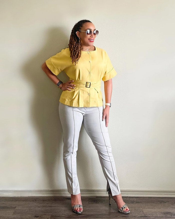 Erica shows off a stylish top for the hourglass figure   40plusstyle.com