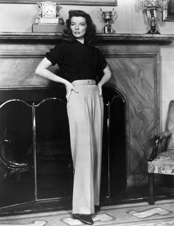Katharine Hepburn in wide leg pants | 40plusstyle.com