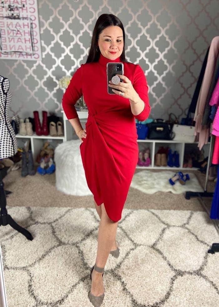 Suzie wears an asymmetrical dress   40plusstyle.com