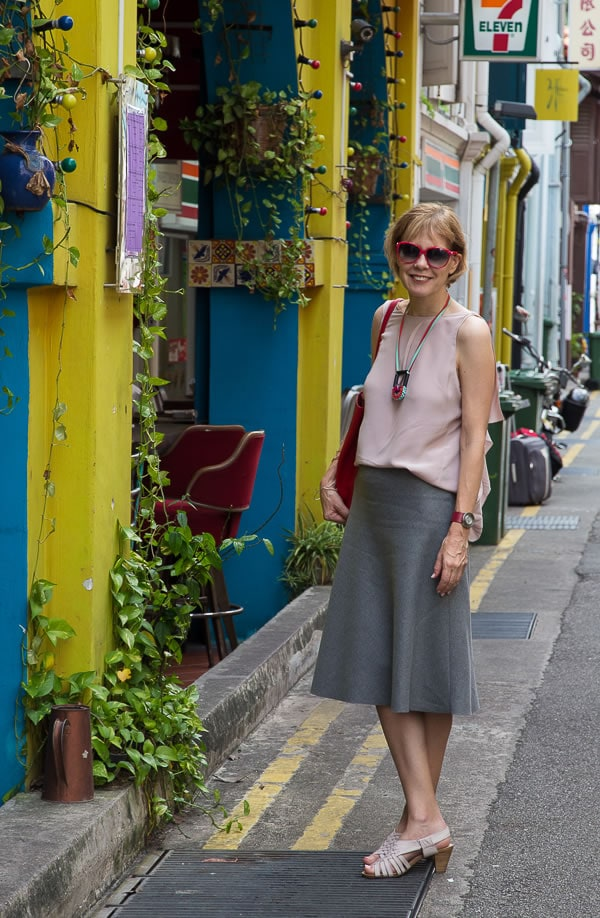 Gray skirt with silk pink top   40plusstyle.com
