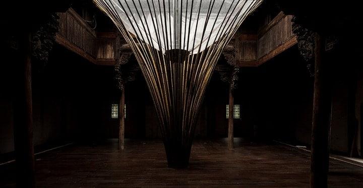 Bamboo Skylight Illuminates the Interior of a Historic Building in China