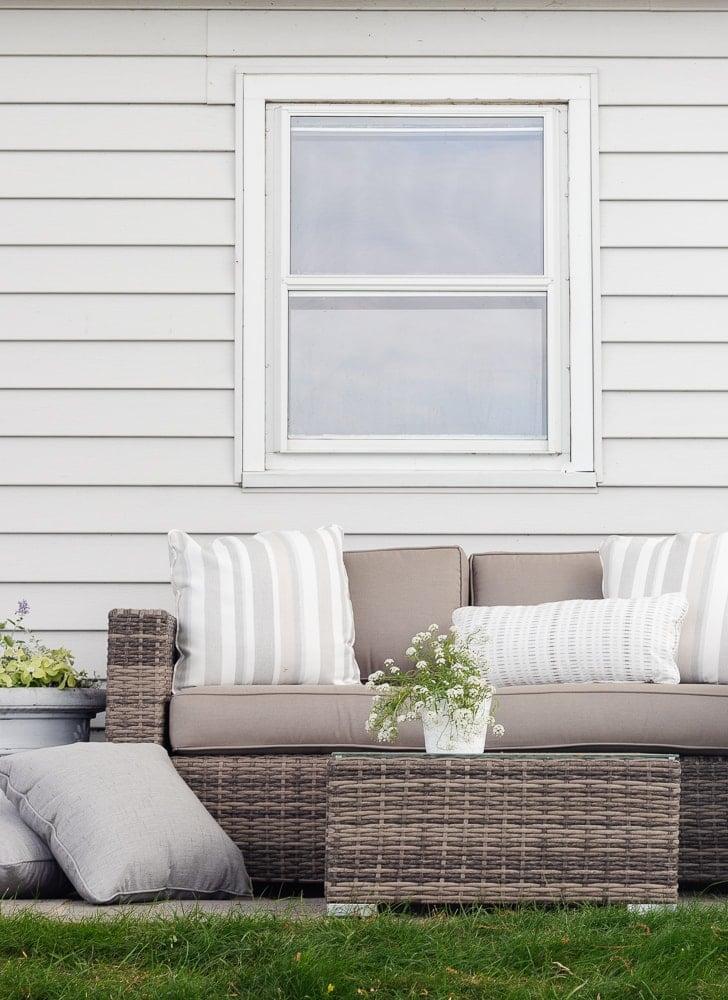 wicker and sunbrella patio furniture set