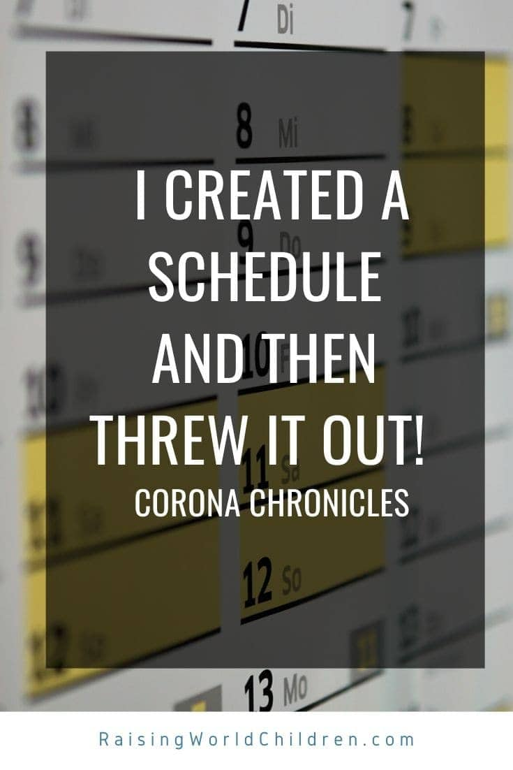Understanding why a schedule will not work during the Corona Self Isolation