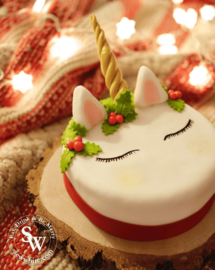 Christmas decorated unicorn cake perfect for unicorn fans