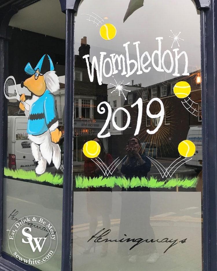 Hemingways Wimbledon womble inspired tennis window for the championships 2019