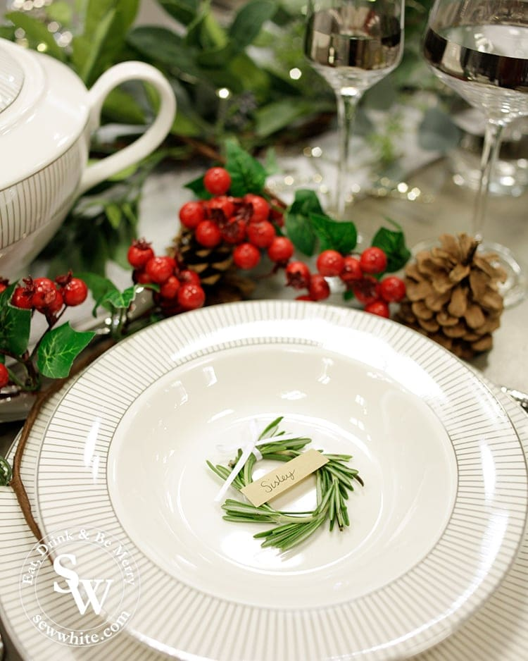 miniature green rosemary wreaths for place settings.