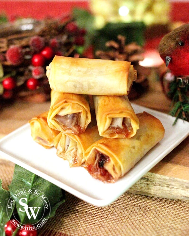 Mince Pie Rolls made with filo pastry and cranberry mincemeat filling.