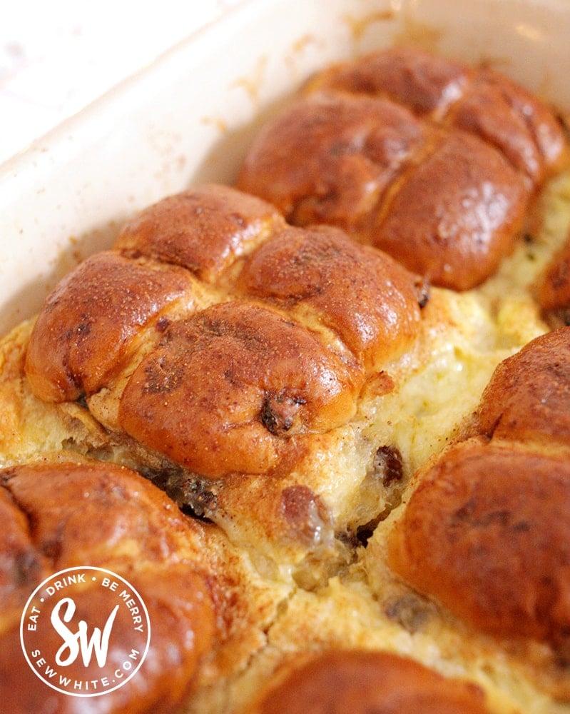 after photo of the cooked golden brown Hot Cross Bun Dessert