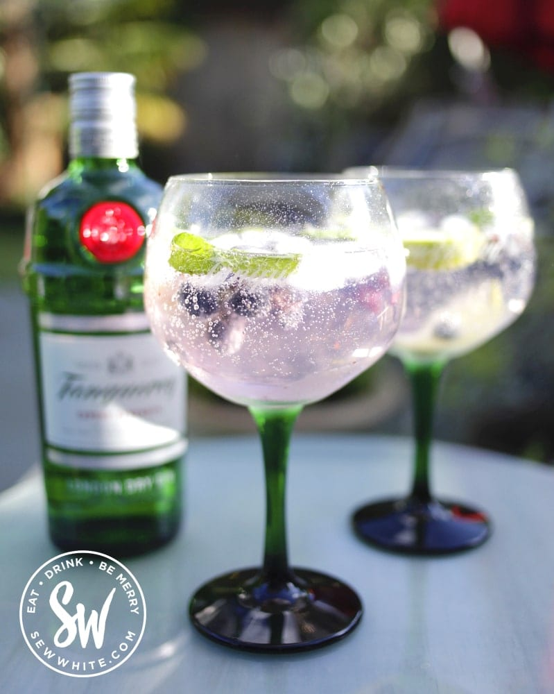 light pink purple blueberry gin and tonic with fresh blueberries and mint leaves in green stemed glasses.